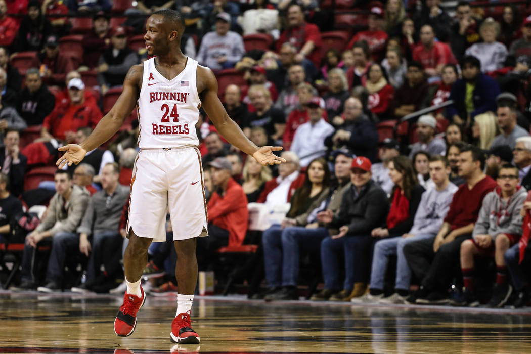 UNLV Rebels guard Jordan Johnson (24) reacts during the first half of a basketball game at the Thomas & Mack Center in Las Vegas, Wednesday, Dec. 20, 2017. UNLV Rebels won 95063Joel Angel Juar ...
