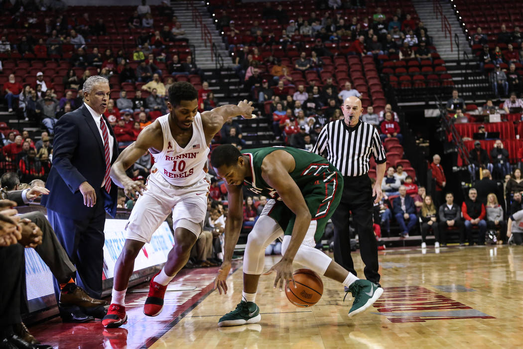 UNLV Rebels forward Shakur Juiston (10) guards Mississippi Valley State Delta Devils forward Arinze Anakwenze (21) during the first half of a basketball game at the Thomas & Mack Center in Las ...