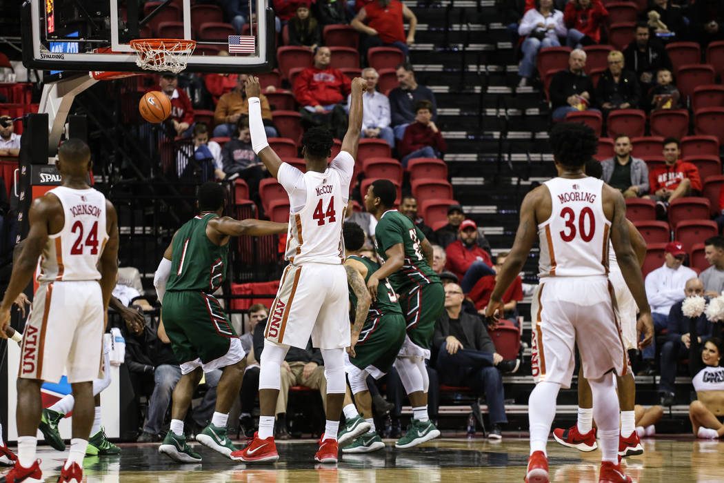 UNLV Rebels forward Brandon McCoy (44) scores against the Mississippi Valley State Delta Devils during the first half of a basketball game at the Thomas & Mack Center in Las Vegas, Wednesday,  ...