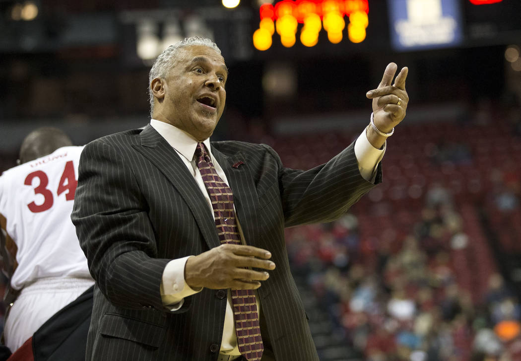 UNLV Rebels head coach Marvin Menzies reacts to a play against the Northern Colorado Bears during the second period of an NCAA college basketball game at the Thomas & Mack Center Friday, Dec.  ...
