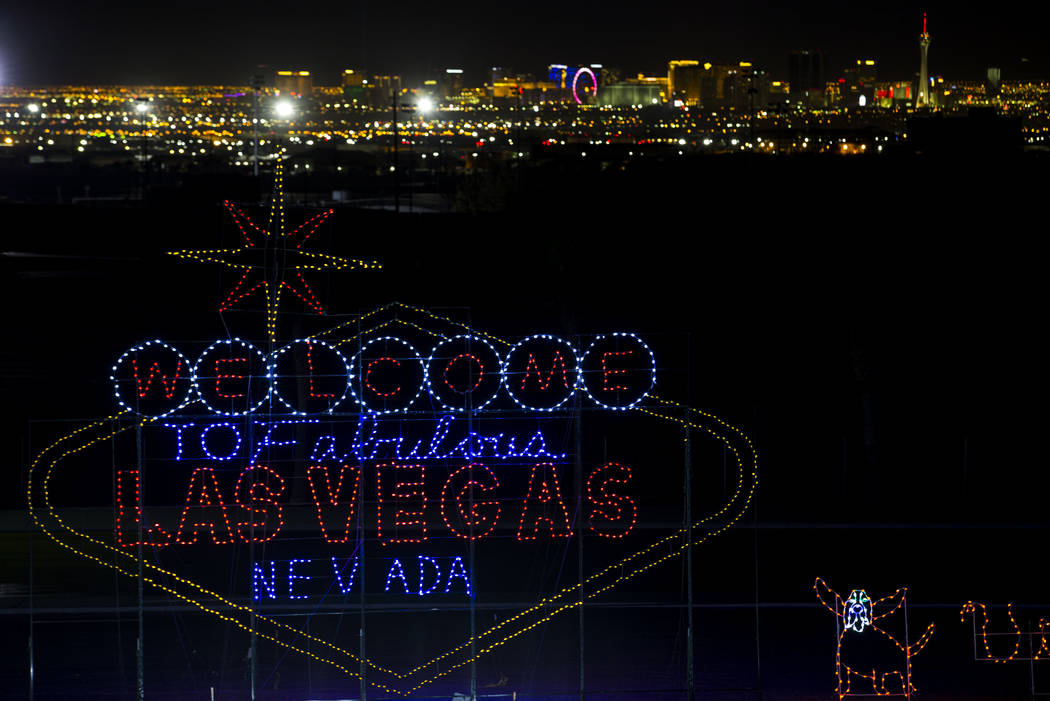 A Welcome to Fabulous Las Vegas sign on display during the Glittering Lights show at the Las Vegas Motor Speedway in Las Vegas, Monday, Dec. 11, 2017. Richard Brian Las Vegas Review-Journal @vegas ...