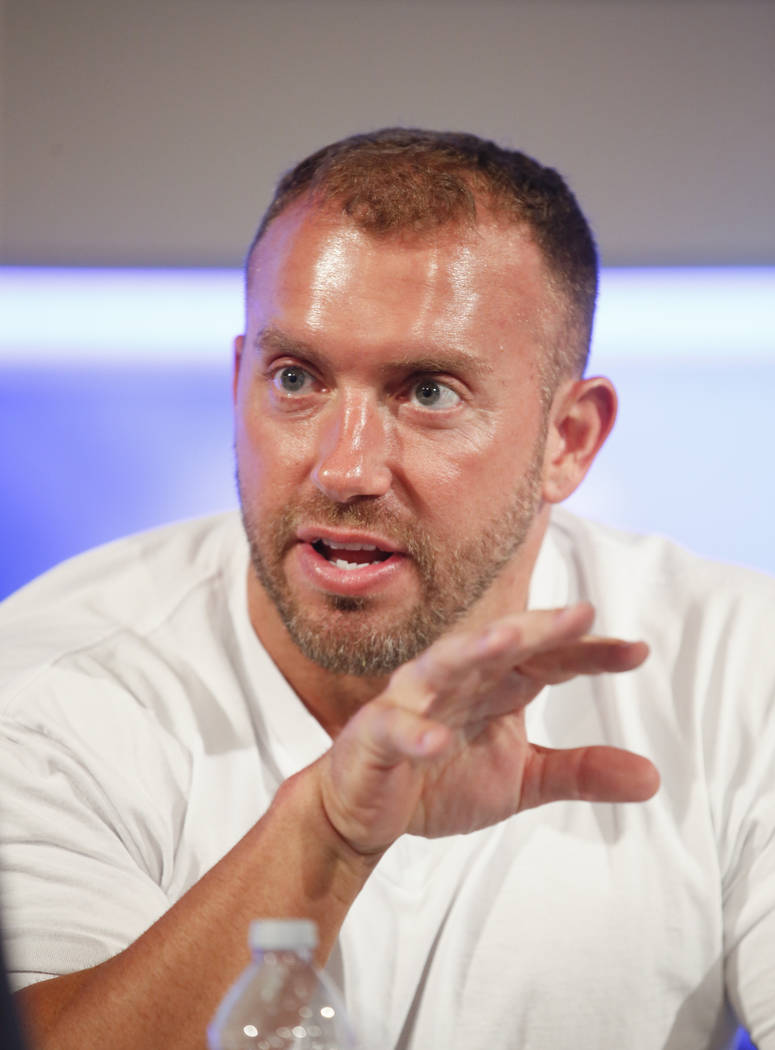 Former NFL player and NFL Network's Heath Evans is interviewed during a media availability on set at the NFL Network studios, Wednesday, Sept. 9, 2015, in Culver City, California. (AP Photo/Danny  ...
