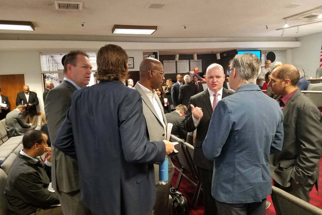Robert Svedberg, principal for TVS Design, Atlanta, greets people attending the Las Vegas Convention and Visitors Authority board of directors meeting Tuesday, Dec. 12, 2017, at the Las Vegas Conv ...