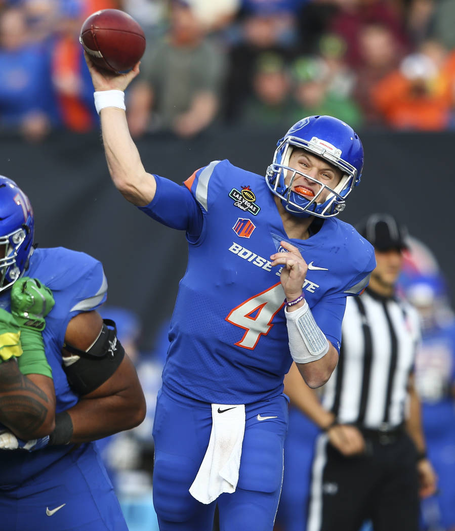 Boise State's Brett Rypien (4) throws  a pass while playing Oregon during the Las Vegas Bowl at Sam Boyd Stadium in Las Vegas on Saturday, Dec. 16, 2017. Chase Stevens Las Vegas Review-Journal @cs ...