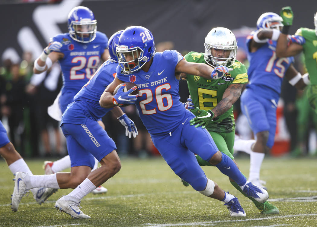 Boise State's Avery Williams (26) runs the ball against Oregon during the Las Vegas Bowl at Sam Boyd Stadium in Las Vegas on Saturday, Dec. 16, 2017. Chase Stevens Las Vegas Review-Journal @csstev ...