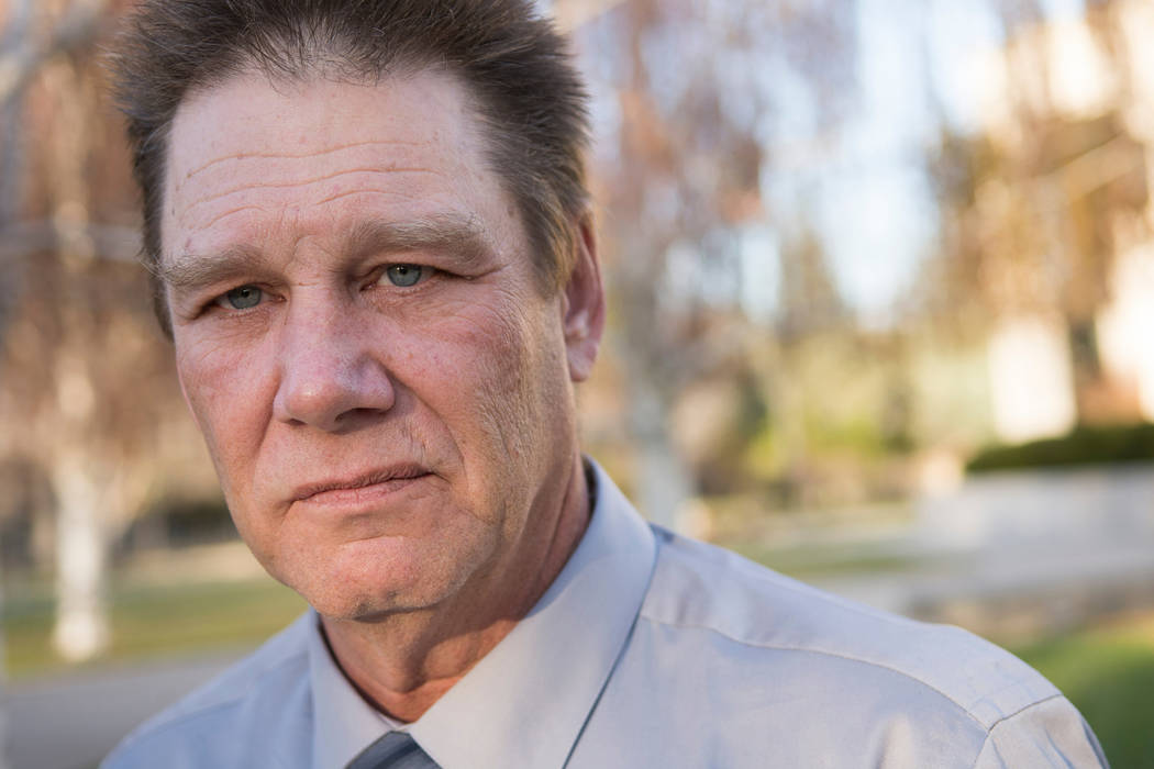 Fred Steese poses for a portrait outside the Nevada Supreme Court in Carson City, Nev., following his successful pardon hearing on Wednesday, Nov. 8, 2017. Steese served more than 20 years for the ...