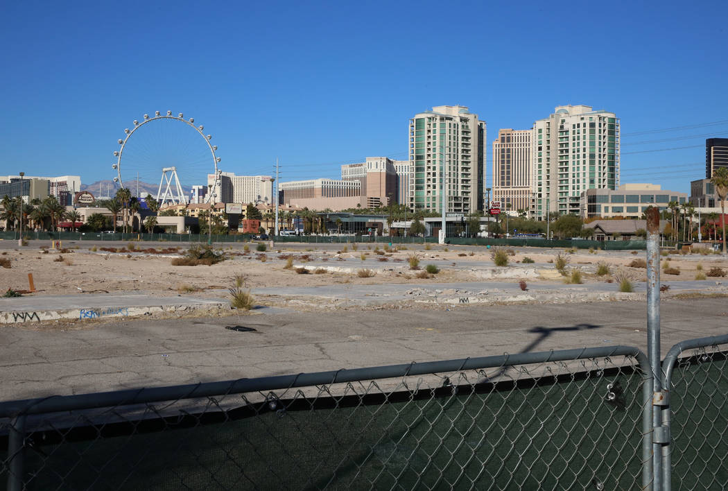 A vacant lot at the corner of Paradise Road and Flamingo Road photographed Wednesday, Dec. 13, 2017, in Las Vegas. A Chinese developer is trying to sell 12 acres east of the Strip for more than $4 ...