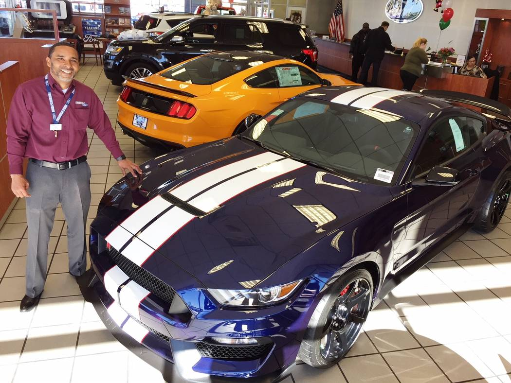 Friendly Ford Friendly Ford sales consultant James Floyd is seen with a 2018 Ford Shelby GT350R at the dealership at 6600 S. Decatur Blvd.