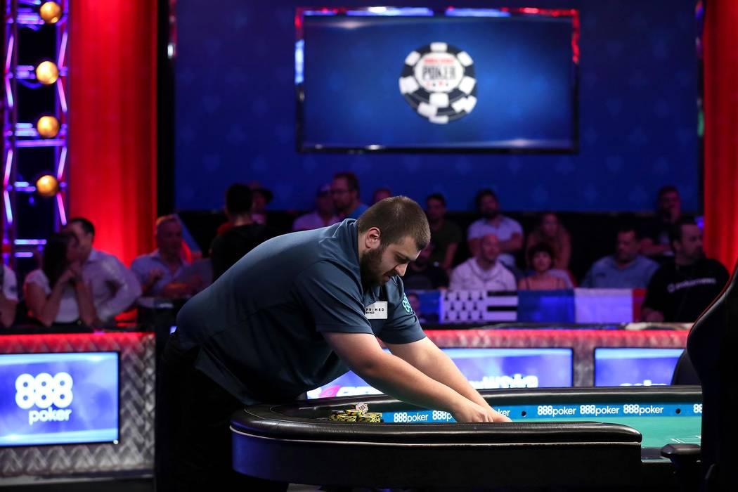 Scott Blumstein plays during the World Series of Poker final table at the Rio Convention Center in Las Vegas on Saturday, July 22, 2017.  Bridget Bennett Las Vegas Review-Journal @bridgetkbennett