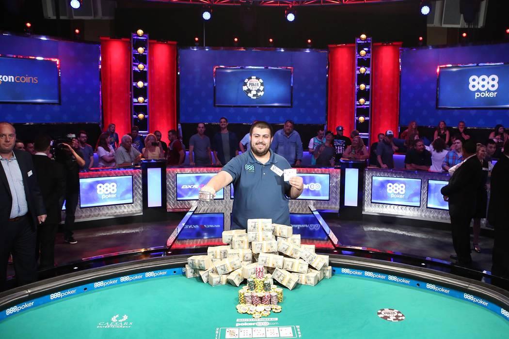 Scott Blumstein is named the 2017 World Series of Poker champion at the World Series of Poker final table at Rio Convention Center in Las Vegas on Saturday, July 22, 2017.  Bridget Bennett Las Veg ...