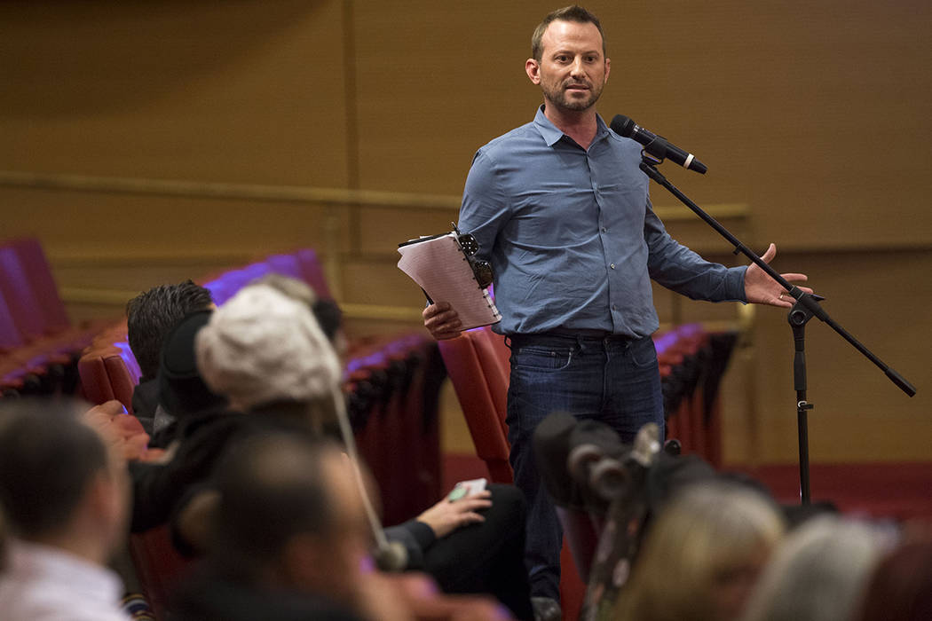 Benjamin Sillitoe, CEO and co-founder of Oasis Cannabis, speaks during a marijuana consumption lounge meeting at Las Vegas City Hall on Wednesday, Dec. 13, 2017. Richard Brian Las Vegas Review-Jou ...