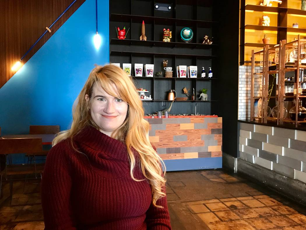 Rhiannon Gladney, a UNLV economics graduate, is pictured at PublicUs coffee shop in Las Vegas, Dec. 11, 2017. (Madelyn Reese/View) @MadelynGReese