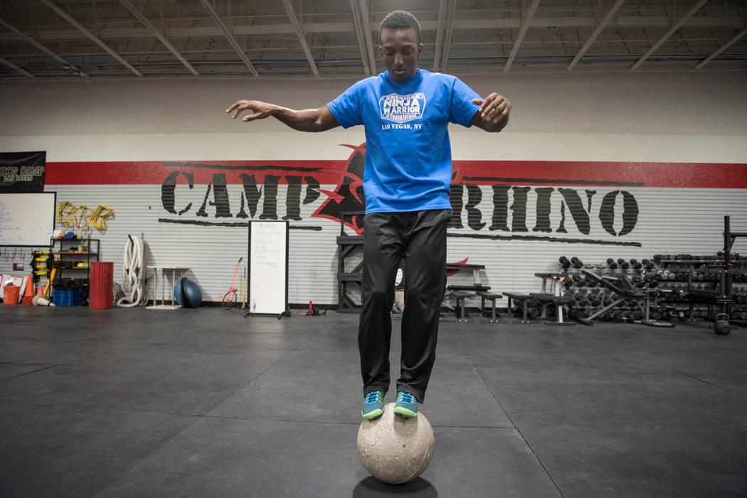 """American Ninja Warrior"" contestant Jelani Allen training at Camp Rhino on Tuesday, June 27, 2017, in Las Vegas. Morgan Lieberman Las Vegas Review-Journal"