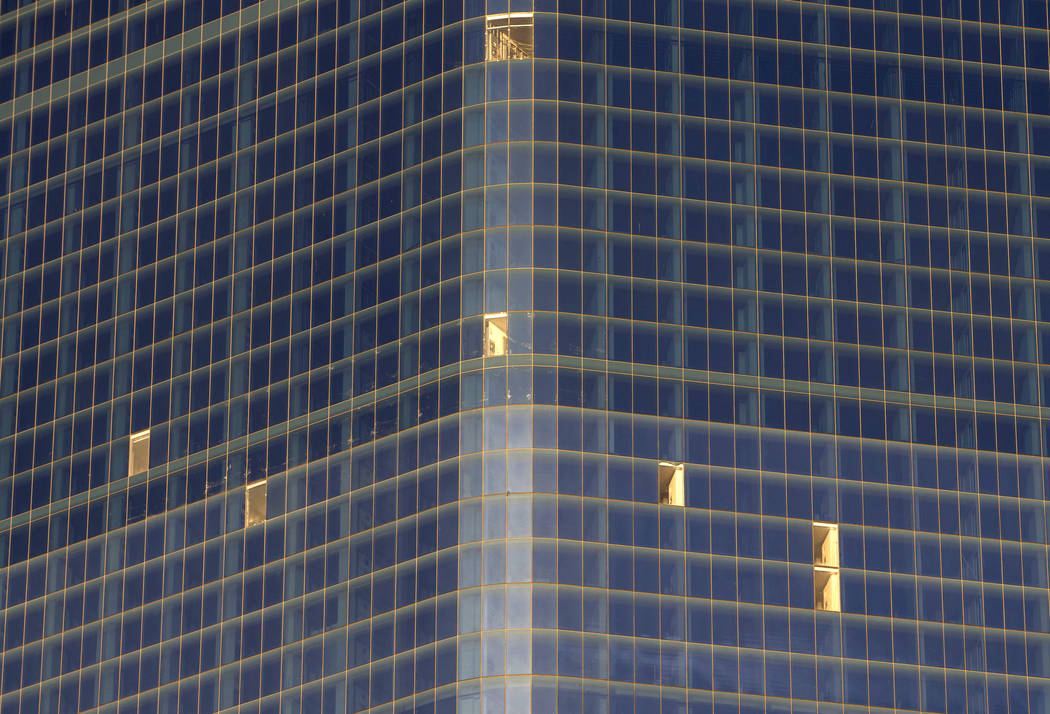 Broken windows can be seen all around the unfinished Fontainebleau project on the Vegas Strip, Wednesday, Dec. 13, 2017. Richard Brian Las Vegas Review-Journal @vegasphotograph