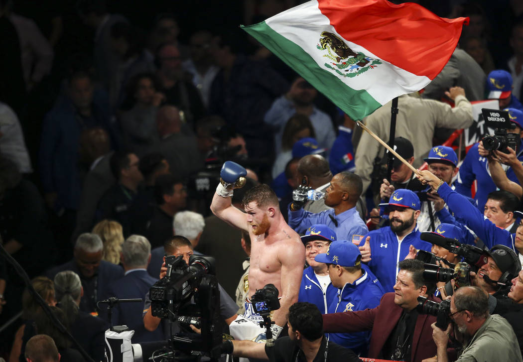 "Saul ""Canelo"" Alvarez at the conclusion of his fight against Gennady ҇GGӠGolovkin in their middleweight championship boxing match at T-Mobile Arena in Las Vegas on Sa ..."