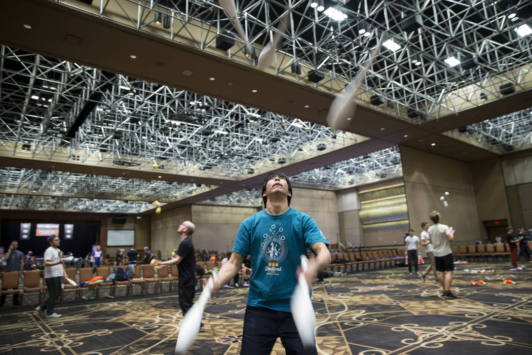 Takeru Hirano, 34, of Japan, practices his juggling at SkillCon inside the Rio Convention Center in Las Vegas, Saturday, Dec. 16, 2017. Erik Verduzco Las Vegas Review-Journal @Erik_Verduzco