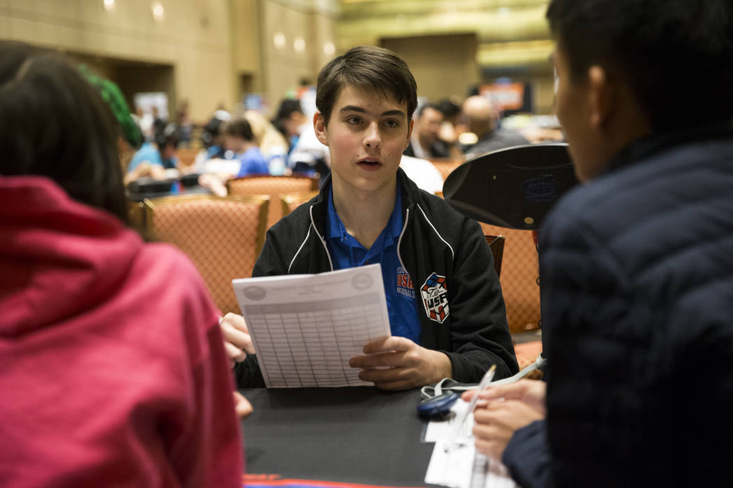 Calvin Brauer, 15, of Baltimore, Md., volunteers as a judge during the word memory competition at SkillCon inside the Rio Convention Center in Las Vegas, Saturday, Dec. 16, 2017. Erik Verduzco Las ...