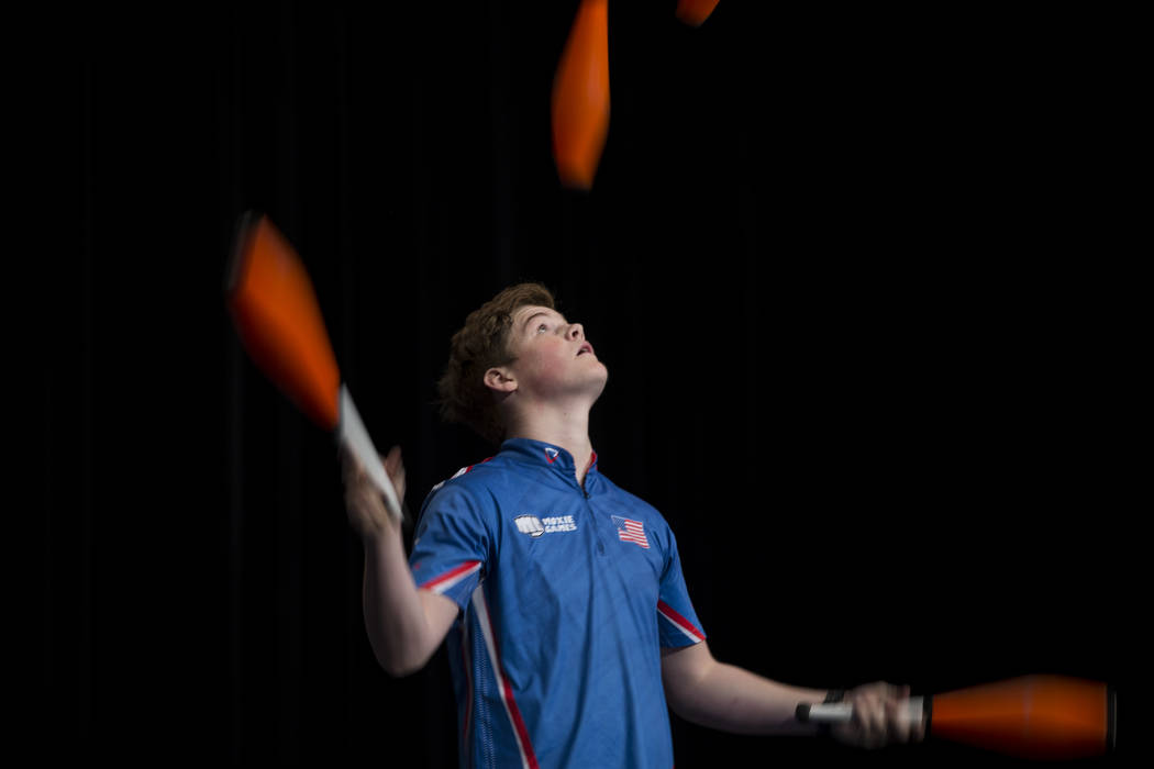 Spencer Androli, 16, during the juggling competition at SkillCon inside the Rio Convention Center in Las Vegas, Saturday, Dec. 16, 2017. Erik Verduzco Las Vegas Review-Journal @Erik_Verduzco