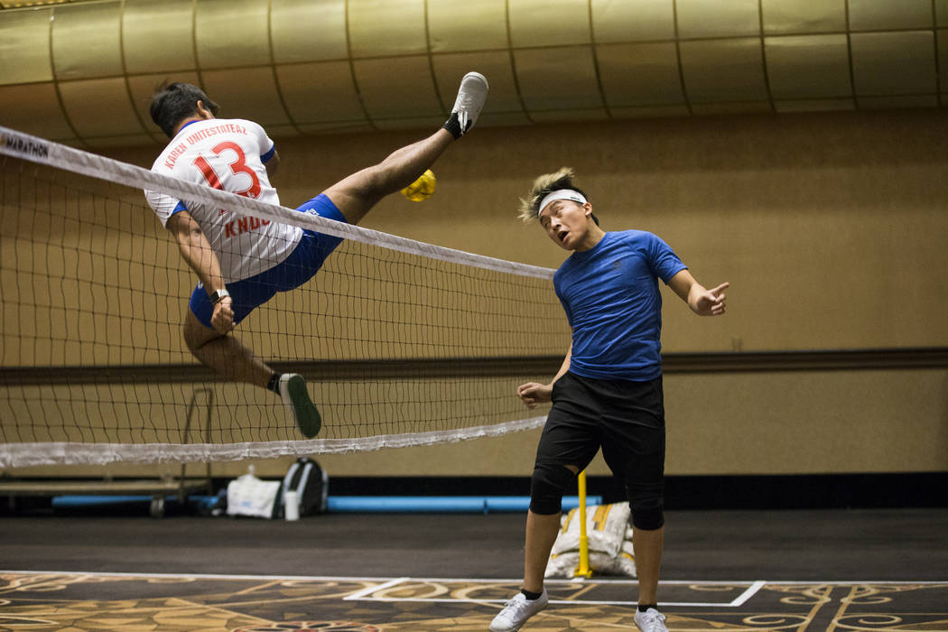 True Anthony Cha, 22, right, of Circle Pines, Minn., during the Sepak Takraw competition at SkillCon inside the Rio Convention Center in Las Vegas, Saturday, Dec. 16, 2017. Erik Verduzco Las Vegas ...