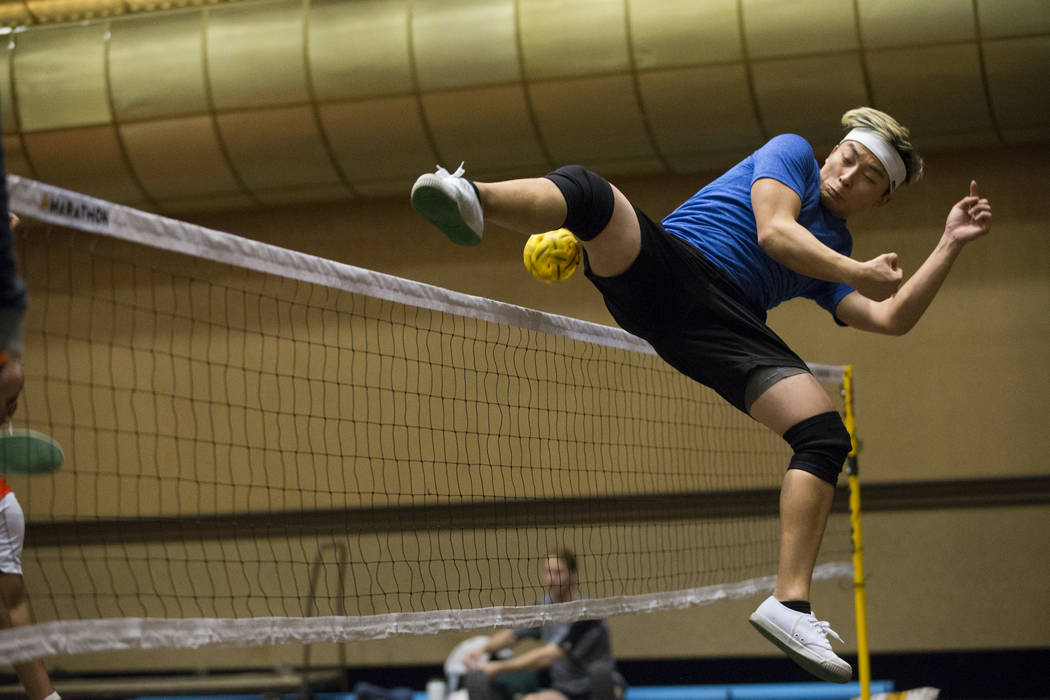 True Anthony Cha, 22, of Circle Pines, Minn., during the Sepak Takraw competition at SkillCon inside the Rio Convention Center in Las Vegas, Saturday, Dec. 16, 2017. Erik Verduzco Las Vegas Review ...
