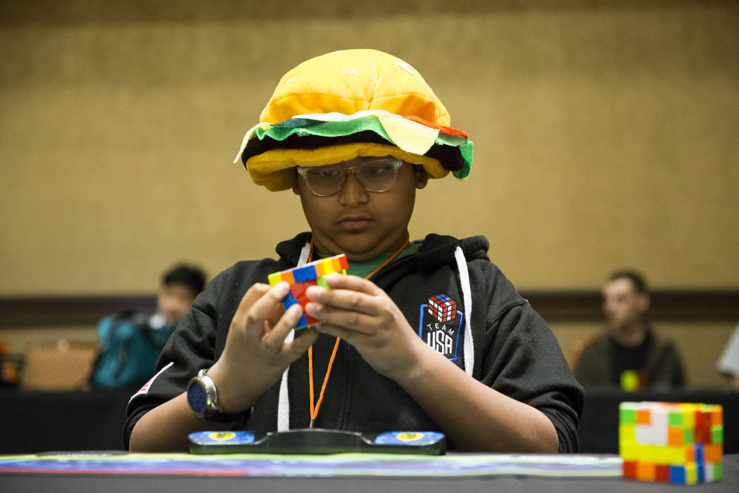 Parth Garg, 12, during the Rubik's Cube competition at SkillCon inside the Rio Convention Center in Las Vegas, Saturday, Dec. 16, 2017. Erik Verduzco Las Vegas Review-Journal @Erik_Verduzco