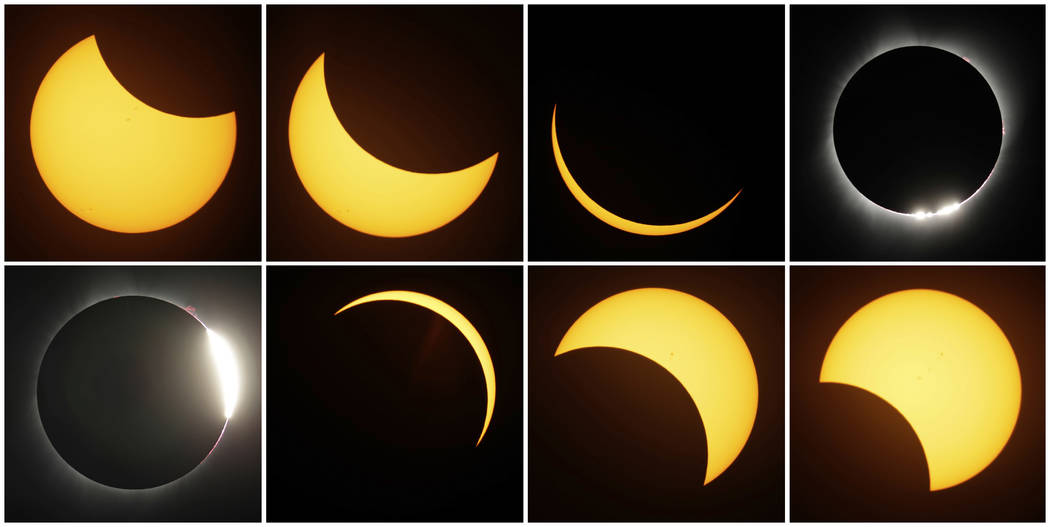 This Monday, Aug. 21, 2017, file photo combo shows the path of the sun during a total eclipse by the moon, near Redmond, Ore. The eclipse was one of the top searches on Google in 2017. (AP Photo/T ...