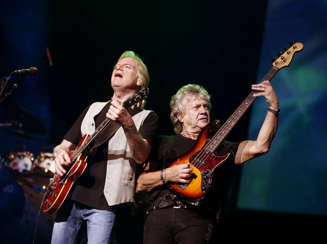 FILE - In this Aug. 20, 2009, file photo, guitarist Justin Hayward, left, and bassist John Lodge of The Moody Blues perform at Radio City Music Hall in New York. The Moody Blues will be inducted t ...