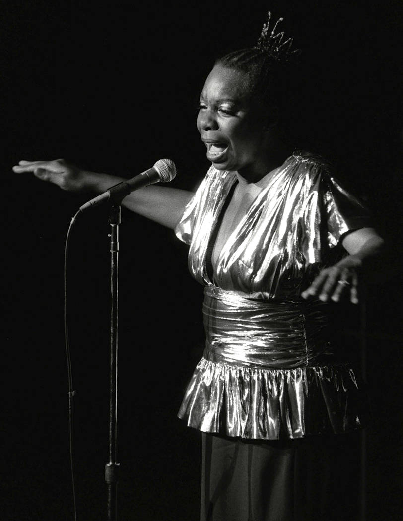 In this June 27, 1985, file photo, Nina Simone performs at Avery Fisher Hall in New York. Simone will be inducted into the Rock and Roll Hall of Fame on April 14, 2018 in Cleveland, Ohio. The jazz ...