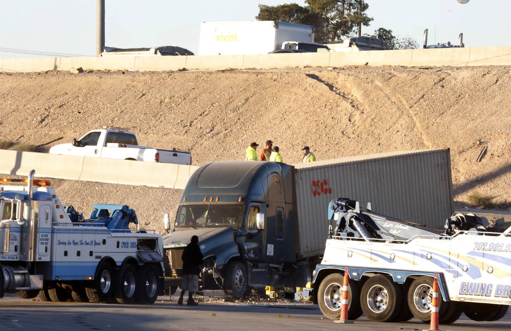 The Nevada Highway Patrol is investigating a semitrailer crash on Wednesday, Dec. 13, 2017, in Las Vegas. A semitrailer crashed into a dirt area on the eastbound Charleston off-ramp of northbound  ...