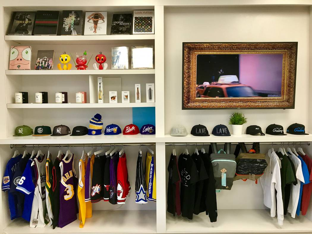 The boutique apparel wall at the Lave Gallery at 3533 S. Valley View Blvd. in Las Vegas, Tuesday, Dec. 12, 2017. (Madelyn Reese/View @MadelynGReese)
