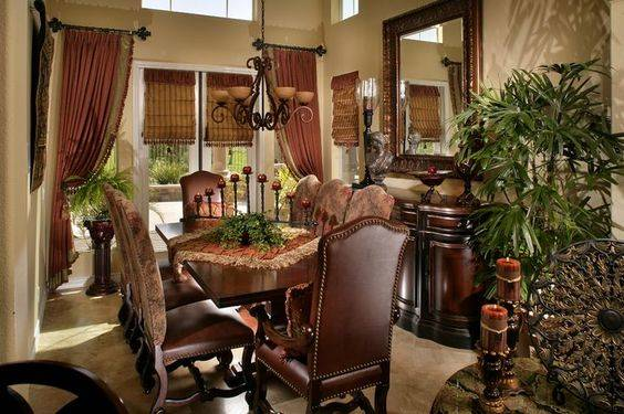 BEFORE: The Tuscan-style kitchen has dark wood. (Luxury Designer)