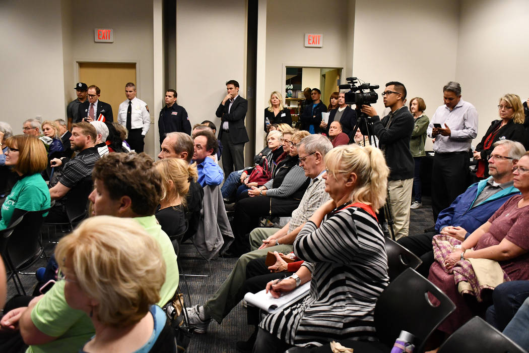 Henderson residents attend March On community event that was hosted by Mayor Debra March at James Gibson Library. The Tuesday event was focused on Henderson Strong and redevelopment planning. (Dar ...