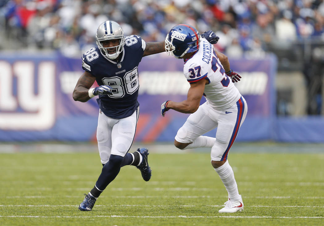Dallas Cowboys wide receiver Dez Bryant (88) runs a pattern against New York Giants defensive back Ross Cockrell (37) in an NFL football game, Sunday, Dec. 10, 2017, in East Rutherford, N.J. (AP P ...