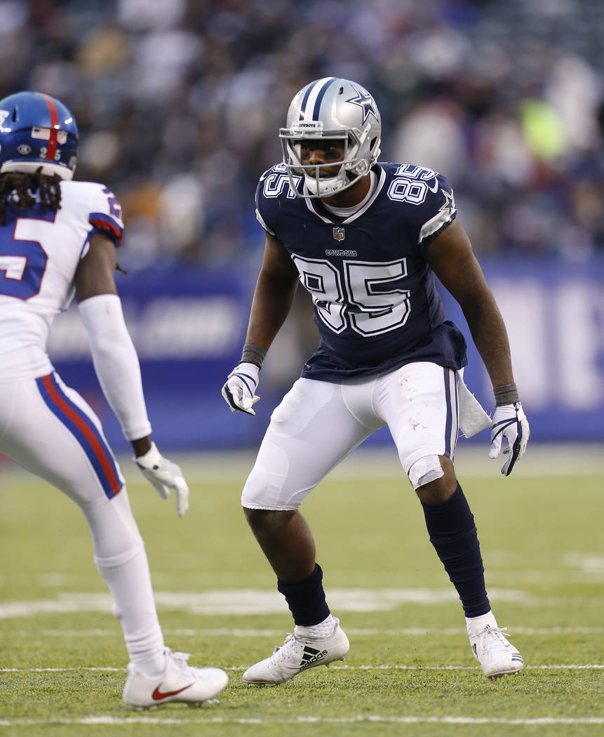 Dallas Cowboys wide receiver Noah Brown (85) against the New York Giants in an NFL football game, Sunday, Dec. 10, 2017, in East Rutherford, N.J. (AP Photo/Adam Hunger)