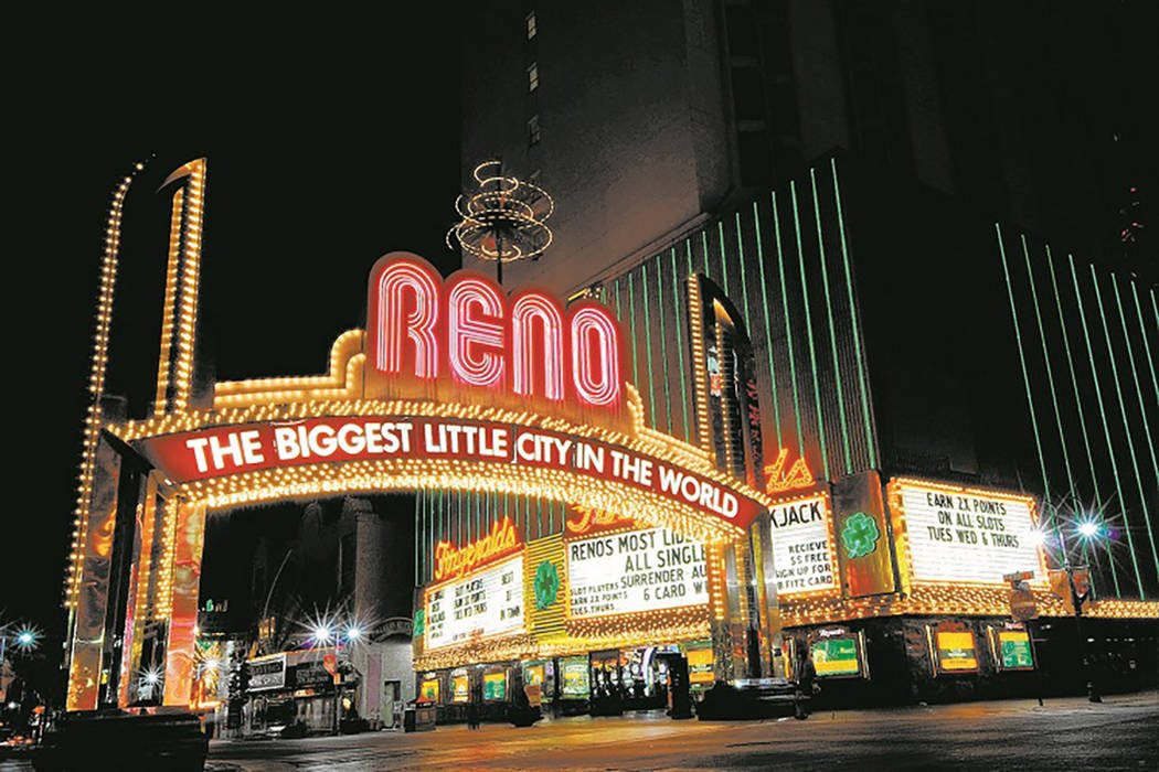 "The famous Reno Arch, which proclaims Reno as ""The Biggest Little City In The World,"" is shown on Virginia Street in downtown Reno, Nev., on Wed. Oct. 22, 2008. (Kevin Clifford/Special to Las Vega ..."