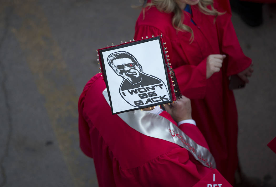 University of Nevada Las Vegas students decorated their caps for graduation during UNLV's 54th commencement ceremony at the Thomas & Mack Center on Tuesday, Dec. 19, 2017, in Las Vegas. Richar ...