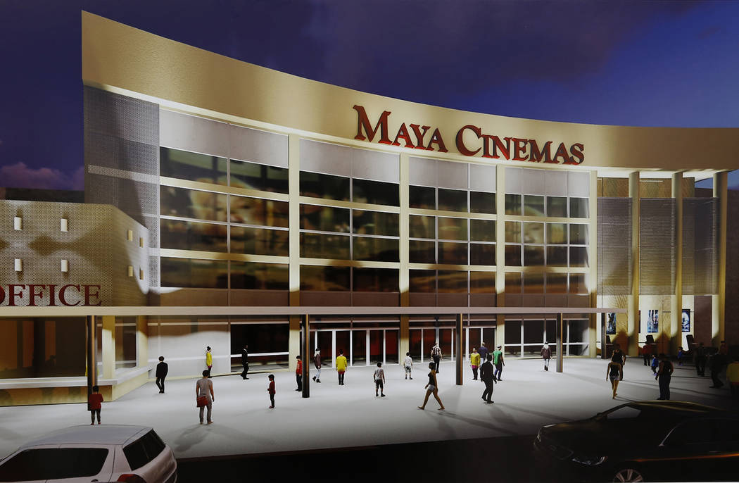 An artistÕs rendering of Maya Cinemas depicts what a 14-screen movie theater at 2195 Las Vegas Blvd. North, across the street from North Las Vegas City Hall, could look like from the outside. ...