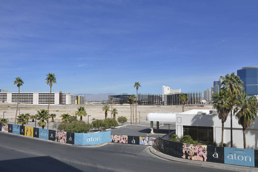 The site of the Alon hotel-casino project is shown in the foreground on the northwest corner of South Las Vegas Boulevard and Fashion Show Drive on Wednesday, March 2, 2016. Bill Hughes/Las Vegas  ...