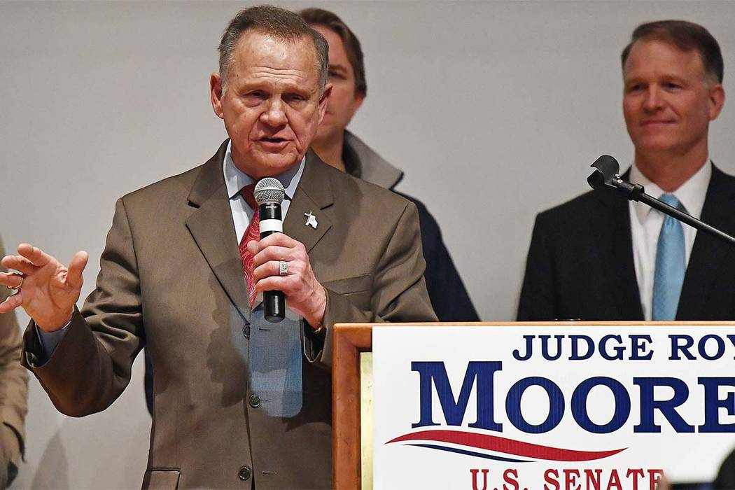 Roy Moore speaks at the end of an election-night watch party at the RSA activity center, Tuesday, Dec. 12, 2017, in Montgomery, Ala. Moore has yet to concede the election to Democrat Doug Jones. ( ...