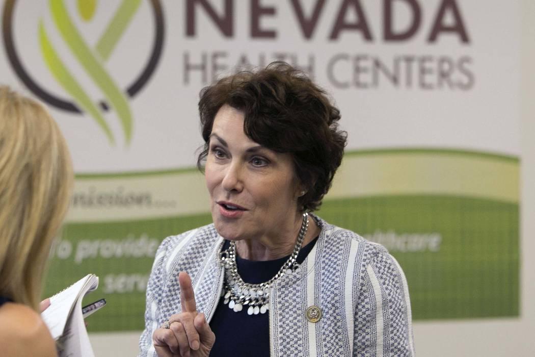 U.S. Rep. Jacky Rosen, D-Nev., speaks at Nevada Health Centers to discuss legislative efforts to address doctor shortage in Nevada on Monday, Aug. 21, 2017, in Las Vegas. (Bizuayehu Tesfaye/Las Ve ...