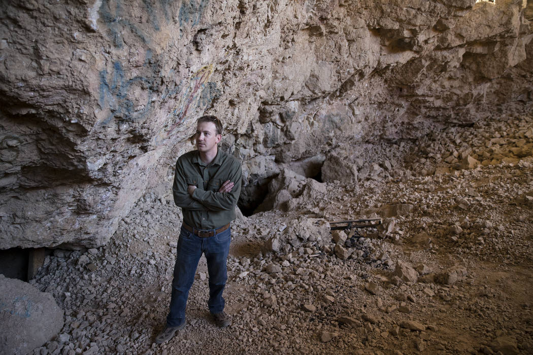 Archaeologist Justin DeMaio during a tour of the Gypsum Cave in Las Vegas, Tuesday, Dec. 19, 2017. (Erik Verduzco/Las Vegas Review-Journal)