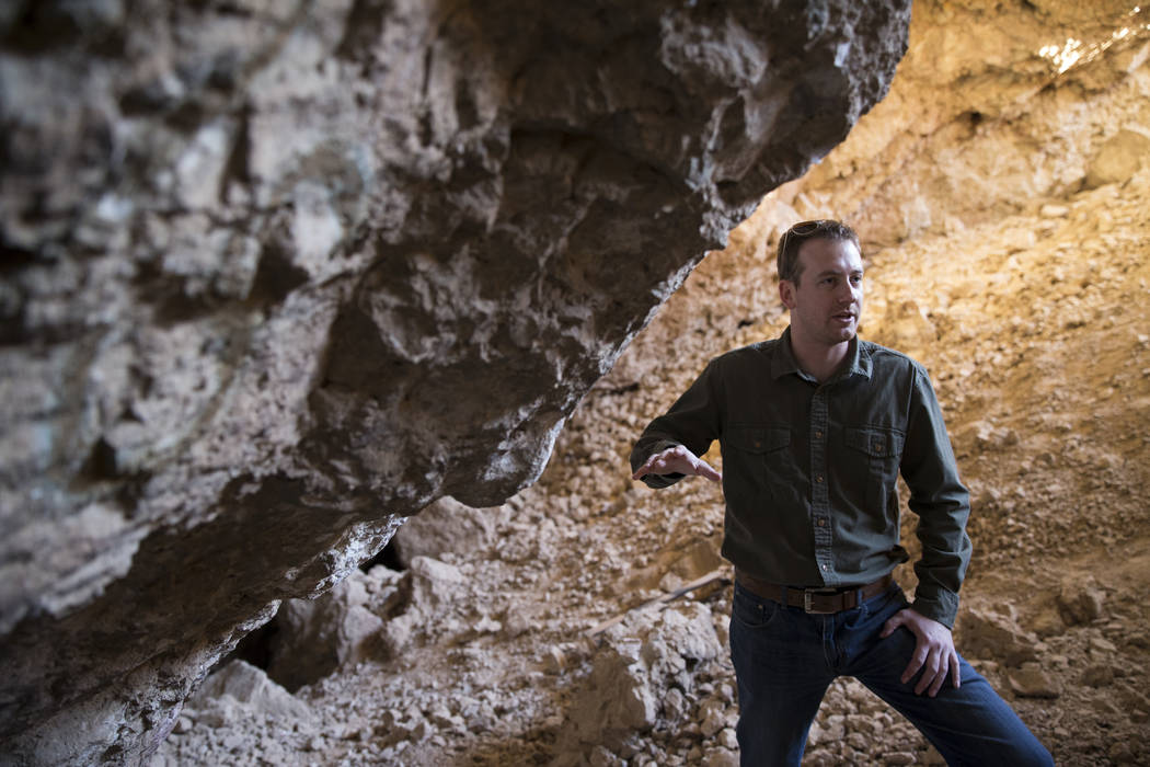 Archaeologist Justin DeMaio during a tour of the Gypsum Cave in Las Vegas, Tuesday, Dec. 19, 2017. Erik Verduzco/Las Vegas Review-Journal