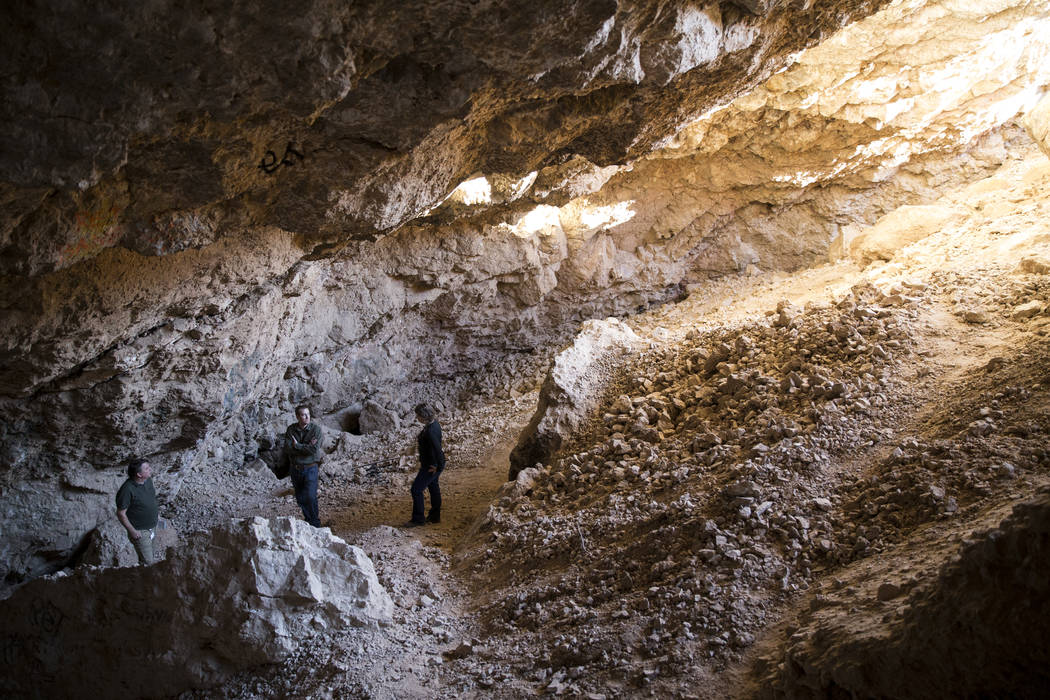 Archaeologist Justin DeMaio, center, during a tour of the Gypsum Cave in Las Vegas, Tuesday, Dec. 19, 2017. (Erik Verduzco/Las Vegas Review-Journal)