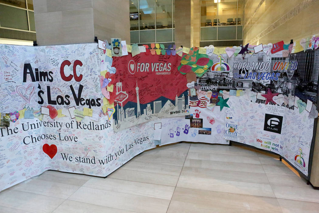 Hand-written cards, panels and notes from across the country and world make up the Hearts for Vegas display on exhibit on the second floor of Las Vegas City Hall as part of the Hearts for Vegas pr ...