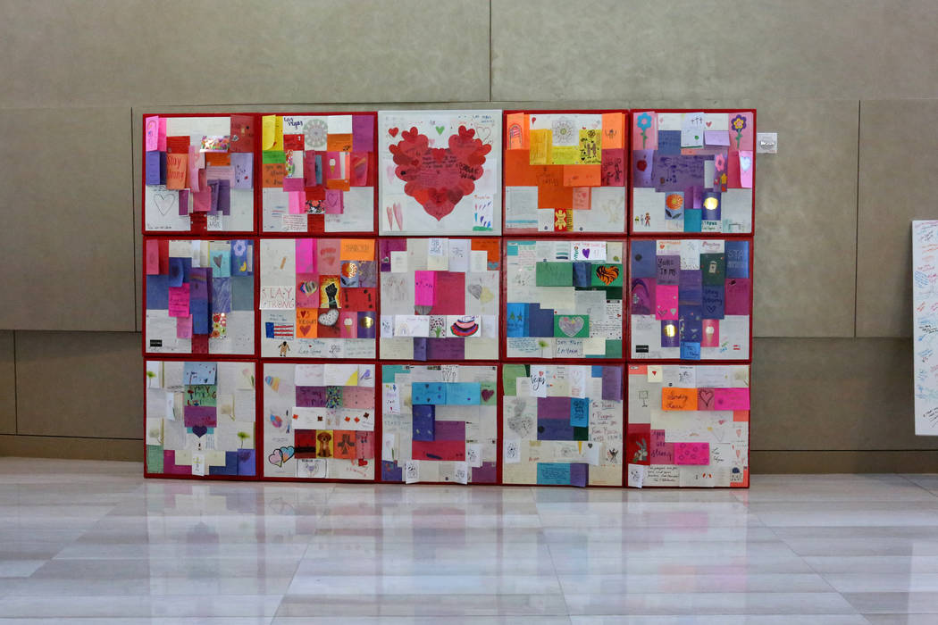Using many of the thousands of cards letters and hearts sent to Las Vegas after the Oct. 1 shooting, artist J.K. Ross created a modular display that is on exhibit on the second floor of Las Vegas  ...