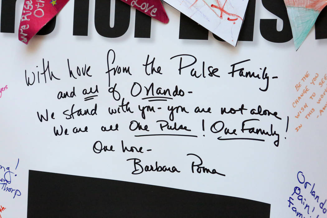 A hand-written note from Barbara Poma, owner of the Pulse Nightclub in Orlando, graces the panel that was sent to Las Vegas after the Oct. 1 shootings and which is now part of the Hearts for Vegas ...