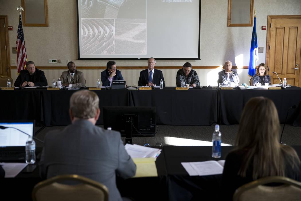 Steve Hill, center, chairman of the Las Vegas Stadium Authority, speaks during a Las Vegas Stadium Authority meeting at UNLV in Las Vegas, Thursday, Dec. 14, 2017. (Erik VerduzcoLas Vegas Review ...