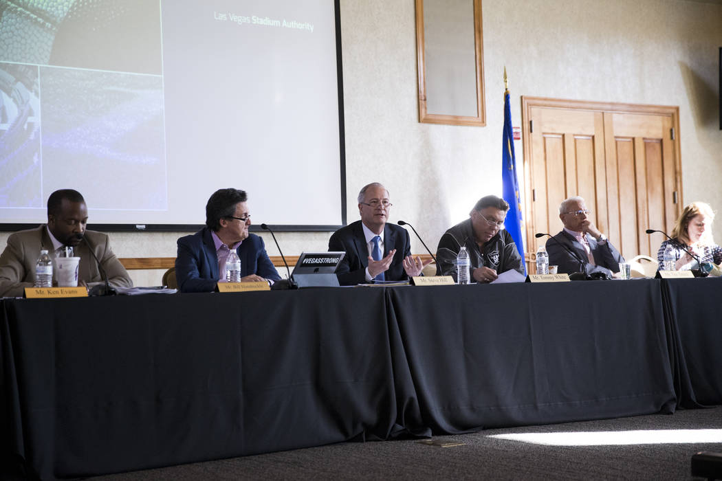 Steve Hill, third from left, chairman of the Las Vegas Stadium Authority, speaks during an authority meeting at UNLV Thursday, Dec. 14, 2017. (Erik VerduzcoLas Vegas Review-Journal @Erik_Verduzco)
