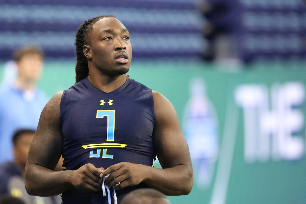 Mississippi defensive end Fadol Brown is seen before a drill at the 2017 NFL football scouting combine Sunday, March 5, 2017, in Indianapolis. (AP Photo/Gregory Payan)
