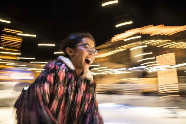 Skaters streak across the ice at night at the Cosmopolitan of Las Vegas Ice Rink on Monday, Nov. 21, 2016, in Las Vegas. (Benjamin Hager/Las Vegas Review-Journal)